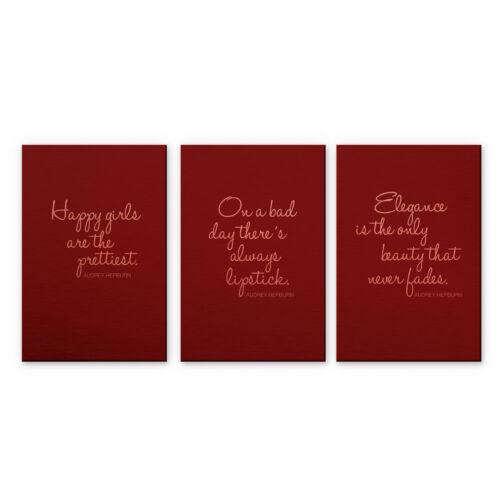 Zitate von Audrey Hepburn Wanddeko gebürstet Trend Alu-Dibond-Kupfereffekt