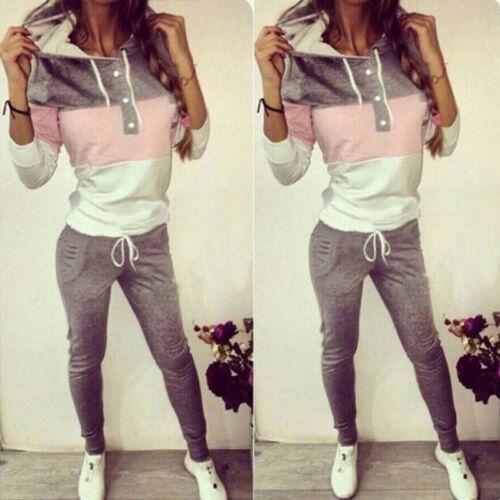 2Pcs Femmes Survêtement Hoodies Sweat Pantalon Ensemble Casual Sports Gym Survêtement