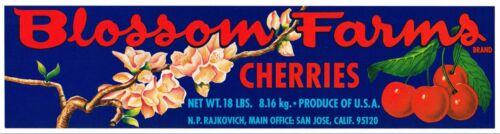 CRATE LABEL FRUIT BOX CHERRY BLOSSOM FARMS SAN JOSE ORIGINAL FLOWERS 1970S