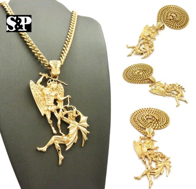 Hip hop gold pt saint michael archangel pendant w 6mm 24 cuban hip hop gold pt saint michael archangel pendant 6mm 24 cuban chain necklace aloadofball Image collections