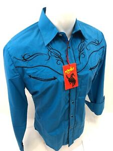 Mens-RODEO-WESTERN-COUNTRY-TEAL-TRIBAL-Long-Sleeve-Woven-SNAP-UP-Shirt-Cowboy-24