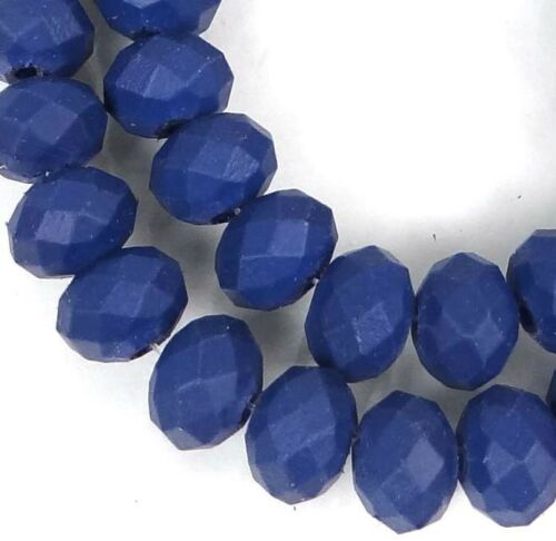 """8x5mm Matte Frosted Neon Glass Faceted rondelle Beads Cobalt 16/"""""""