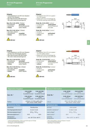 Adapter A40-40S SCHÜTZINGER 4mm Stecker 4mm Sicherheits-Buchse blau 854570