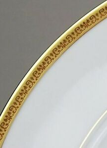 4-Charter-Club-Grand-Buffet-Gold-9-034-Rimmed-Soup-Pasta-Bowl-Good-Condition-Gold
