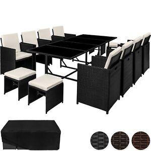 Détails sur Ensemble Salon de jardin poly rotin 8x chaise table tabouret  résine tressée