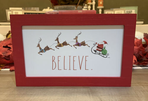 "BELIEVE Christmas- 11.5/"" x 7/"" Santa Sleigh Reindeer Red Wood Sign Rae Dunn"