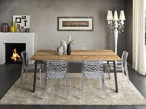 Tavolo moderno in legno antico e metallo per cucina for Tavoli per cucina in legno