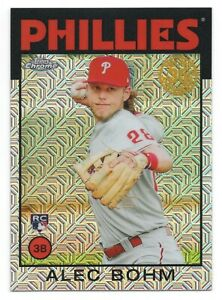 ALEC BOHM 2021 Topps SILVER PACK 1986 Mojo Refractor RC Rookie Phillies SP QTY