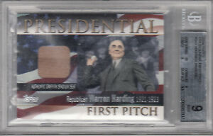 2004 TOPPS PRESIDENTIAL FIRST PITCH WARREN G HARDING BGS 9 FPR-WH SEAT RELIC*