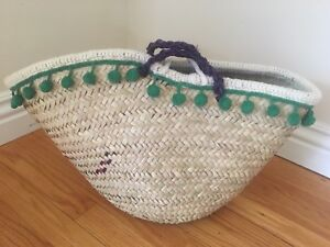 NEW HANDWOVEN RATTAN TOTE BAG WITH TWO TOP HANDLES