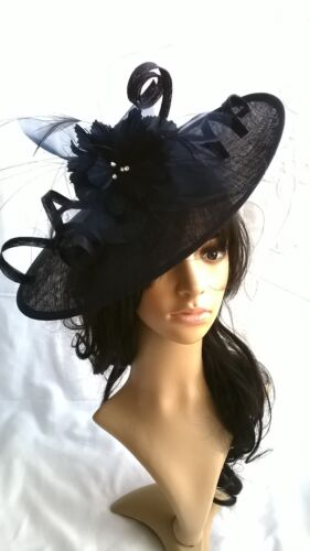 Black Feather Fascinator..Hatinator shaped disc Wedding.races.crystals..new
