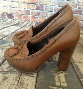 Report-Brown-039-Bishop-039-Tan-Platform-Thick-High-Leather-Heels-With-Tassle-Size-8-5