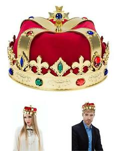 Deluxe Royal Queen King Regal Red /& Fur Jewelled Crown Fancy Dress Accessory