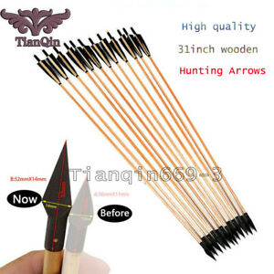 Super-12x-Archery-31-034-Handmade-Wooden-Arrows-England-Turkey-Feathers-Recurve-Bow