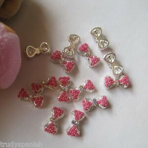 3D-Nail-Art-Pink-Bows-PINK-Butterfly-Rhinestone-Detail-Decoration-5pcs