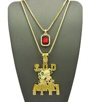 Iced Out Ruby Color Stone Chain & Sod Money Gang Chain Set.