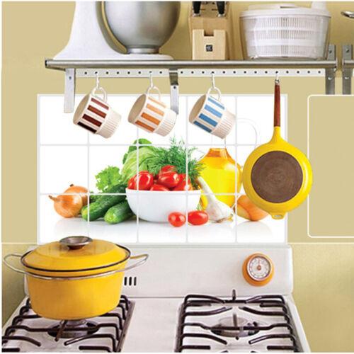 Aluminum Foil Fruits Wall Sticker Decals Oil Proof Q6N5 Pape Room Kitchen C3X9