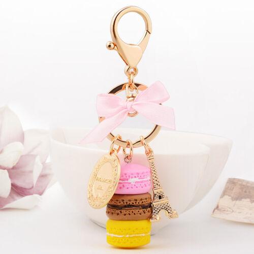 New Macaron Cake Dessert Beads Keychain Handbag Pendant Key Ring