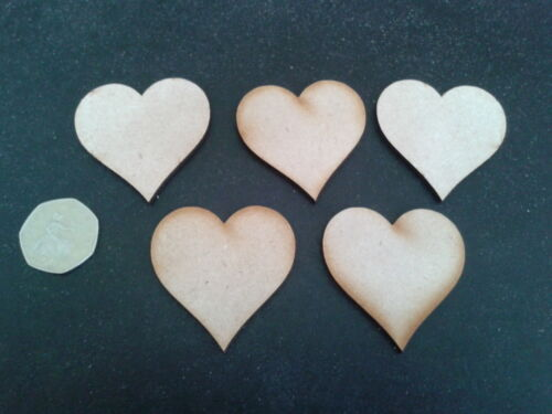 Wooden Hearts 5cm x 5cm Pack of 50 Laser Cut Craft Shapes 3mm MDF Wedding Cards