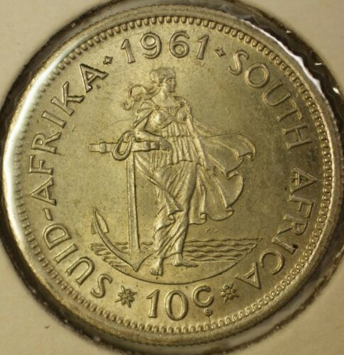 1961 South Africa 10 Cents Unity is Strength Almost Uncirculated Silver Coin