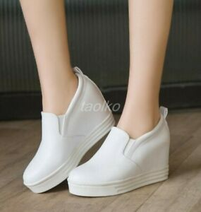 Chic-Women-039-s-PU-Leather-Casual-Wedge-Heel-Loafers-Platform-Slip-On-Sneaker-Shoes