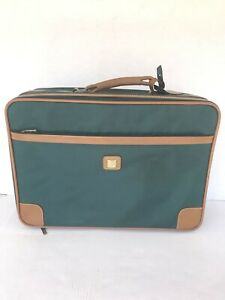 True Vintage Members Only Soft Suitcase Green Brown Trim Train Case Old School