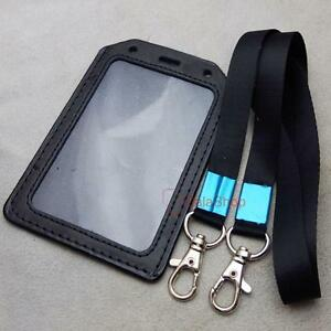 image is loading strap lanyard snap hook exhibition genuine leather id - Id Card Holder