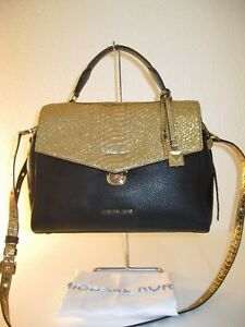d1c3677342fa MICHAEL KORS Black and Gold Leather Medium Bristol Satchel Crossbody ...