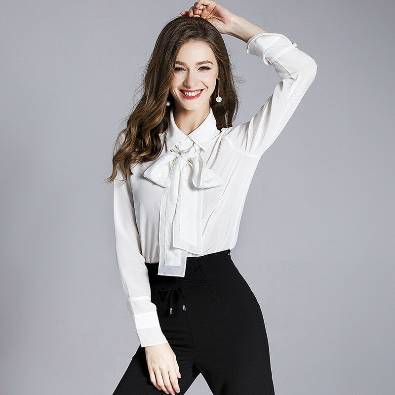 Summer new silk blouse long-sleeve bow tie with loose joker silk blouse white sh