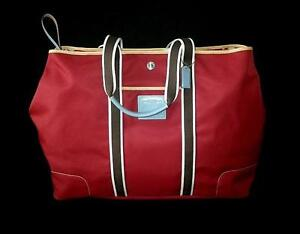 Image Is Loading Nwt Coach Hamptons Weekend Red Nylon Huge Expandable