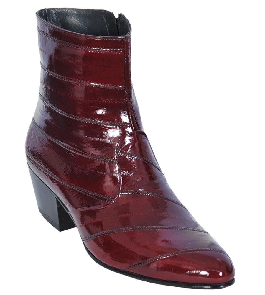 Los Altos Full Genuine Eel Dress Ankle Boots Medium Round Toe Side Zipper EE