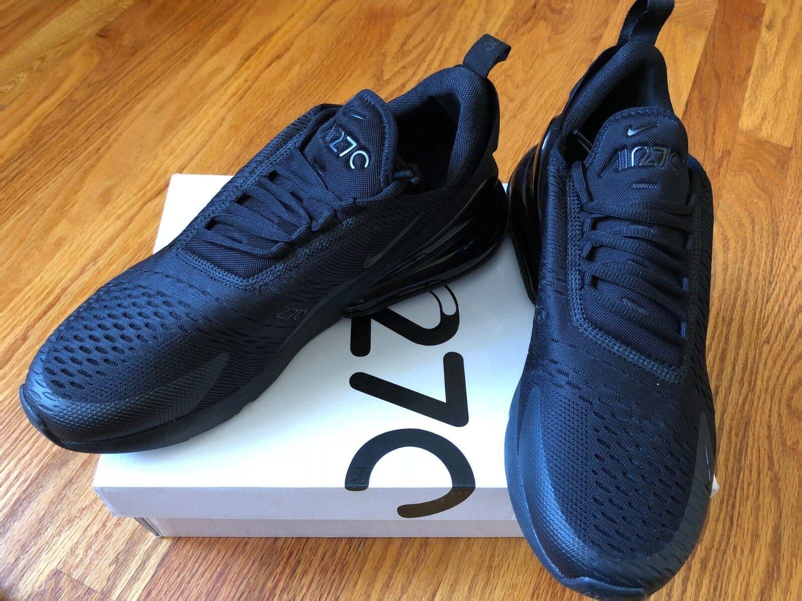 66b602235d Nike Air Max 270 Mens Ah8050-005 Triple Triple Triple Black Mesh Knit  Running Shoes
