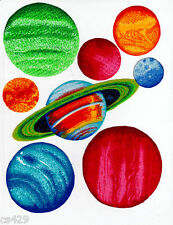 """6.5"""" PLANET SPACE GALAXY  FABRIC WALL SAFE FABRIC DECAL CHARACTER CUT OUT"""