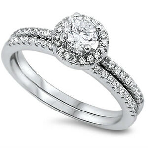Details About 1 Ct Halo Round Cubic Zirconia Wedding Set 925 Sterling Silver Ring Sizes 5 10