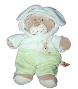 Nicotoy-Doudou-peluche-Ours-deguise-Lapin-beige-vert-Gd-Mod-32-cm-oreilles-57