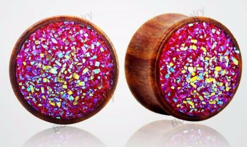 PINK GLITTER Wooden Ear Plugs Piercing Jewellery Stretcher Tunnels Timber PL127