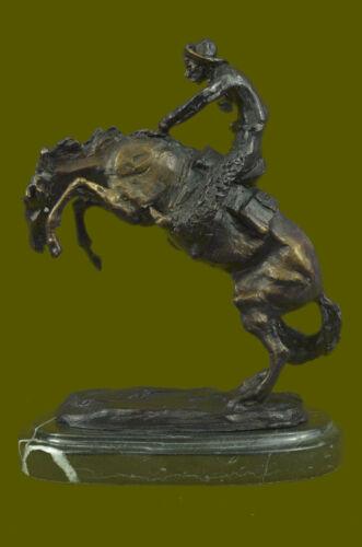100/% Bronze Statue Remington Bronze cowboy w//Horse Sculpture WOOLY CHAP Figure