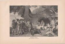 Menschen der Steinzeit Steinzeitmenschen erlegter Bär DRUCK von 1903