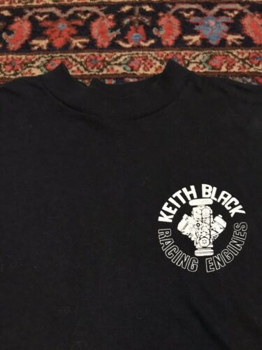 Vintage Keith Black Racing Engines T Shirt 80s Dra