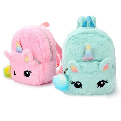 Girls Fluffy Unicorn Backpack Plush School Rucksack Zipper Shoulders Bag Pretty