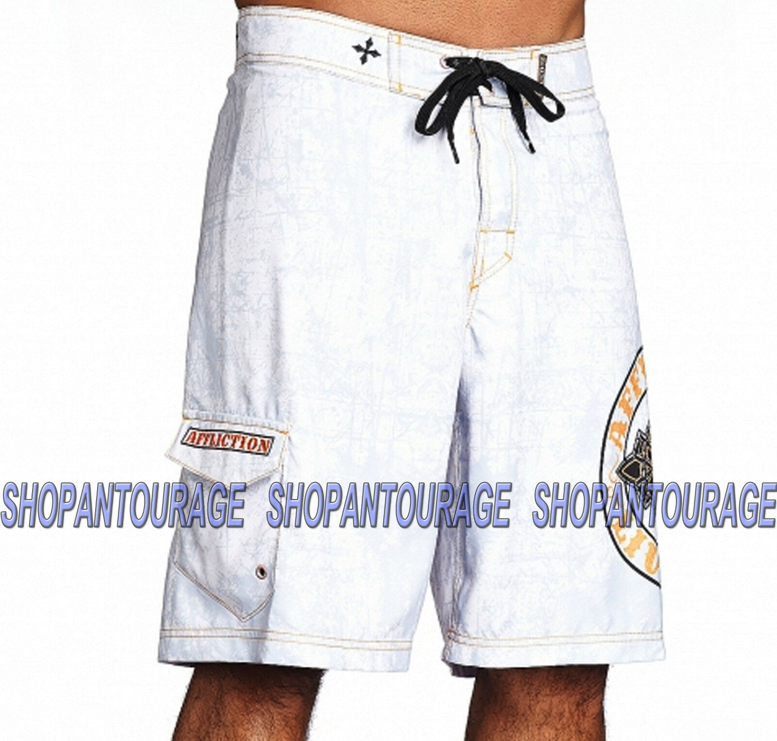Affliction Royal Chromatic 101BS099 New White Graphic Boardshorts for Men