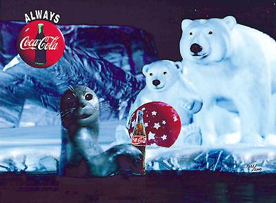 Enchanted Evening Coke Coca-Cola Polar Bears Skating Cel Art Ad Christmas NEW