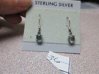 Beautiful Cabochon Aquamarine Sterling Silver Oval Cut Dangle Earrings