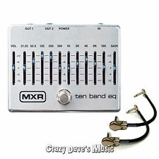 Dunlop MXR M108S 10 Band Graphic EQ Equalizer Guitar Pedal w/2 Free Patch Cables