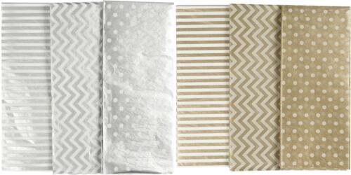 6 x Printed Tissue Paper Sheets Silver Gold 3 Assorted Designs Christmas Deco