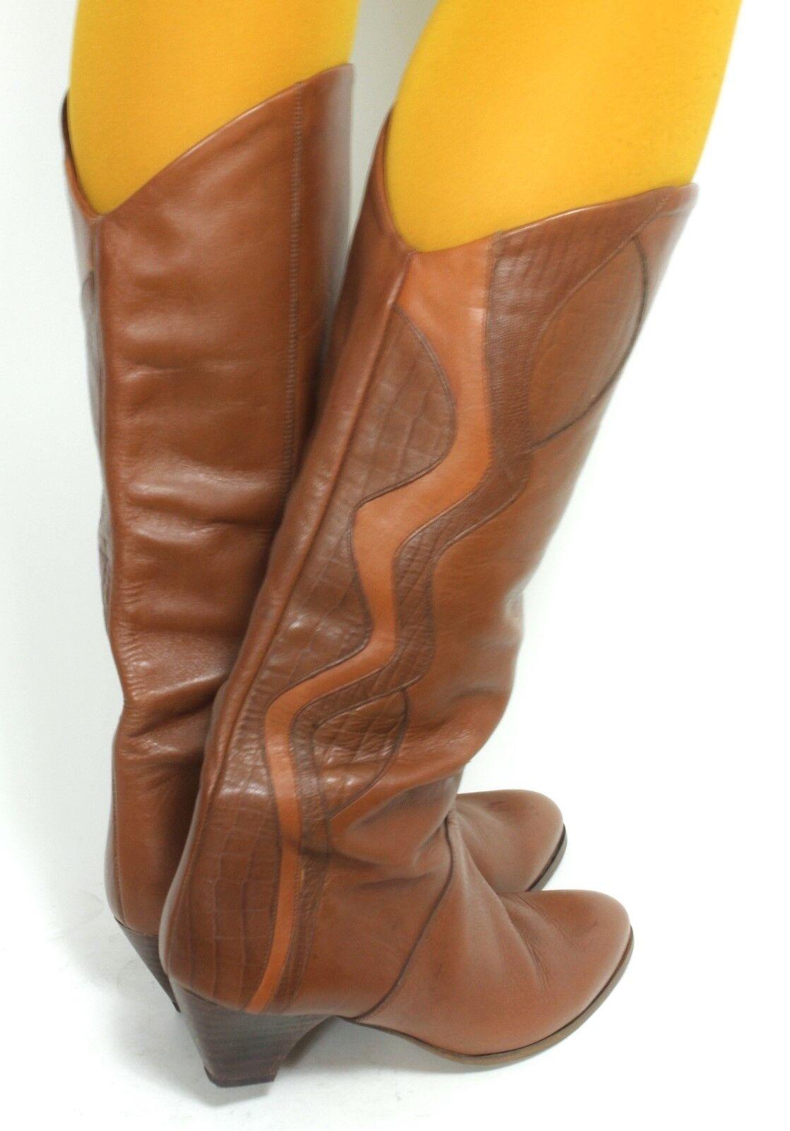 Botas botas geométrica botas Vintage mujer de cuero Cognac geométrica botas 40 7d97d2