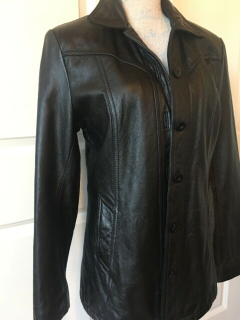 Wilsons Maxima Leather Jacket Women's Size Medium Black 5 Button Pockets Size M
