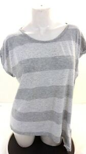 NWOT-TWO-BY-VINCE-WOMENS-GRAY-amp-WHITE-STRIPED-TOP-SIZE-XL
