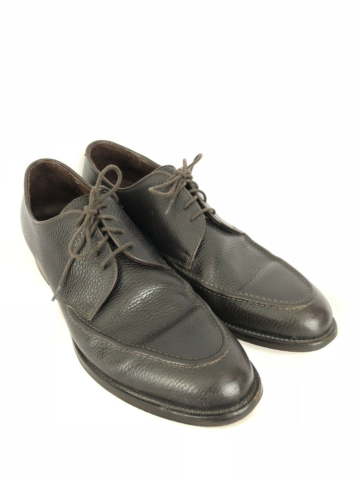 E.T. Wright Uomo marrone Pebble Pelle Lace Up Oxford Scarpe 11.5 AA Narrow EUC