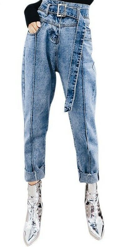 Casual Denim Ladies Jeans High Waist With Denim Belt Style Loose Full Length Fit